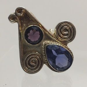 Vintage 925 sterling purple stone ring